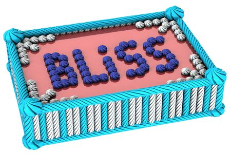 bliss: Colorful cream cake with the inscription bliss isolated on white background.  3D render.
