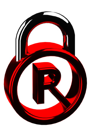 copyright symbol: Red padlock with copyright symbol isolated on white background.  3D render.