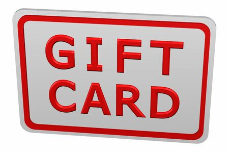 commercial activity: Gift card, isolated on white background. 3D render.