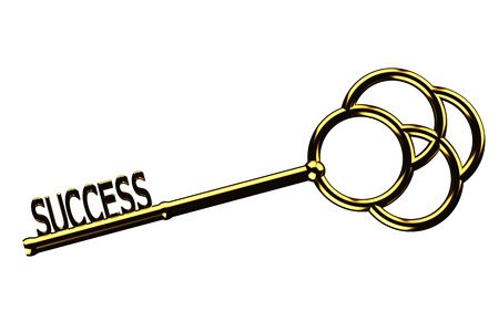 golden key: Finance concept: golden key with the word success isolated on white background. 3D render. Stock Photo