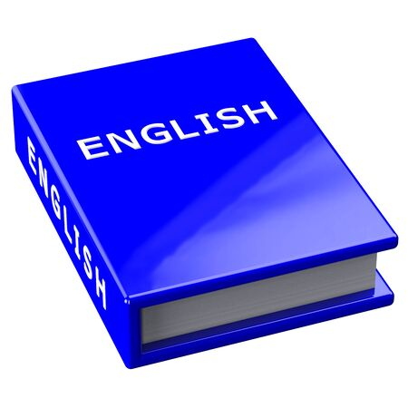 classbook: Blue book with word english  isolated on white background. 3D render. Stock Photo