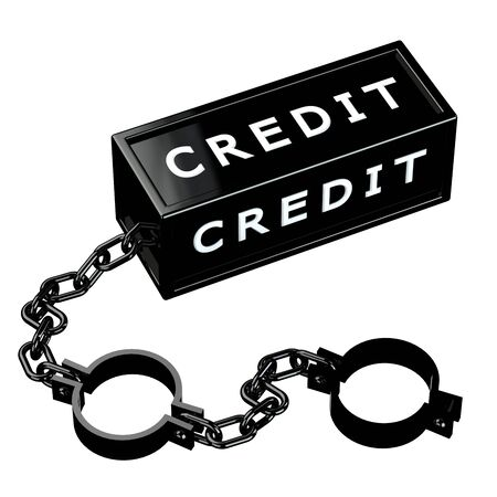economic depression: Finance concept: Black shackles with word credit, isolated on white background. 3D render.