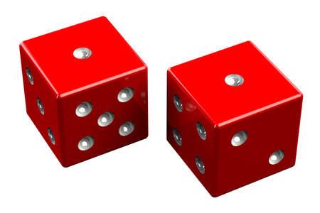 snake eyes: Pair of dice - Snake Eyes, isolated on white background. 3D render.