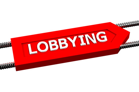 persuasion: Word lobbying the arrow, isolated on white background. 3D render.