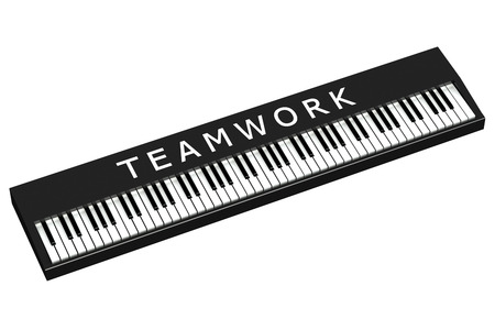 black piano: Black piano with word teamwork, isolated on white background.  3D render.
