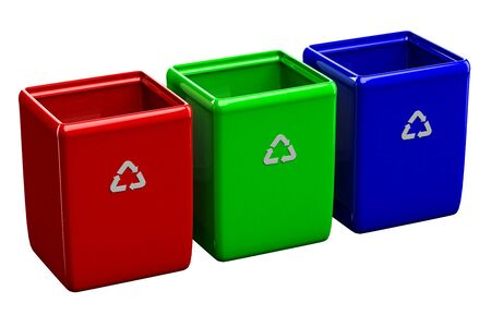 wastepaper basket: Recycling bins isolated on white background. 3D render.