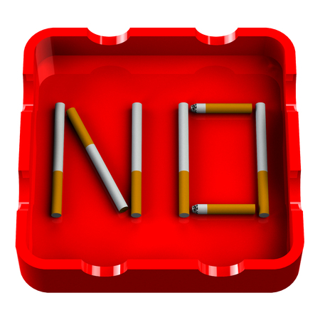 Word No in ashtray isolated on white background.  3D render.