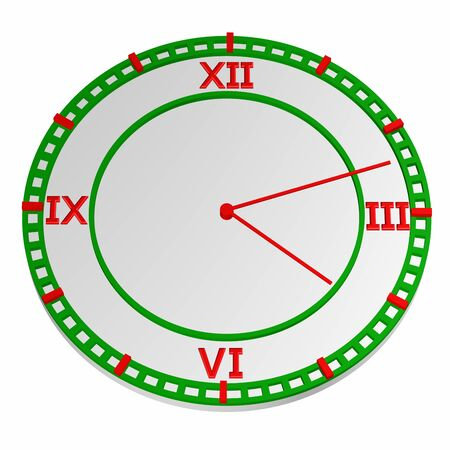 Clock face, isolated on white background. 3D render. Stock Photo