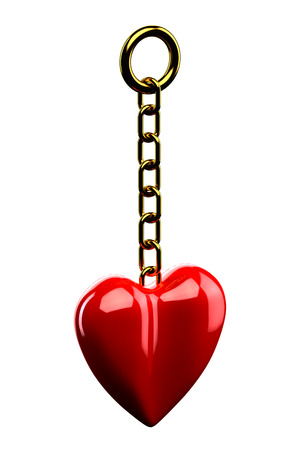 gold chain: Keychain: Gold chain with a red heart isolated on white background. 3D render.