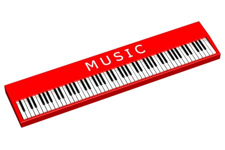 sensory perception: Red piano with word music, isolated on white background. 3D render.