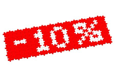 10: Red puzzle with sign -10%, isolated on white background. 3D render.