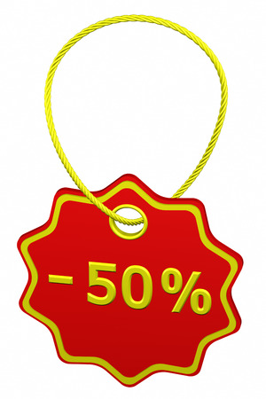 50: Discount - 50 % tag, isolated on white background. 3D render. Stock Photo