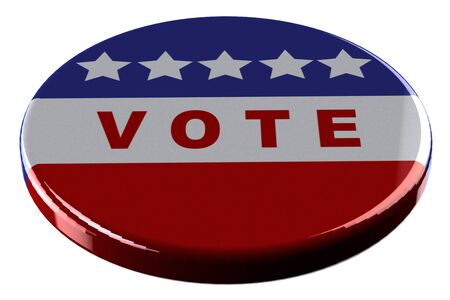 opinion poll: Badge - vote  isolated on white background. 3D render.