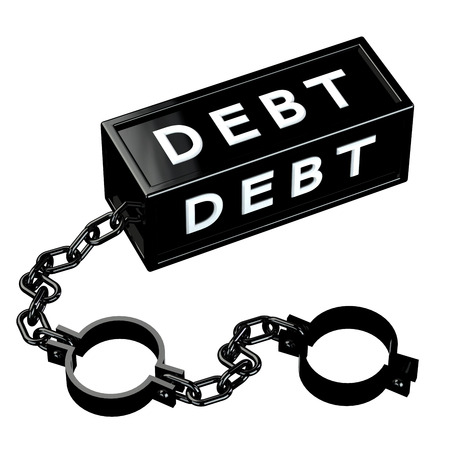 restraining: Finance concept: Black shackles with word debt, isolated on white background. 3D render.