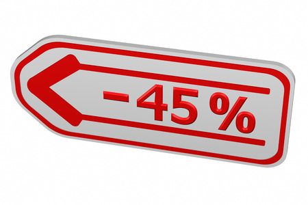 45: Discount - 45 % arrow, isolated on white background. 3D render.