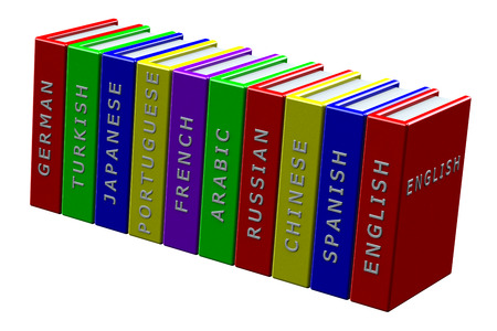 Education concept:  books languages, English, Spanish, Chinese, Russian, Arabic, French, Portuguese, Japanese, Turkish, German,  isolated on white background. 3D render.