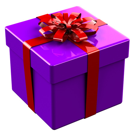 boxing tape: Purple gift box tied red with a bow isolated on white background.  3D render.