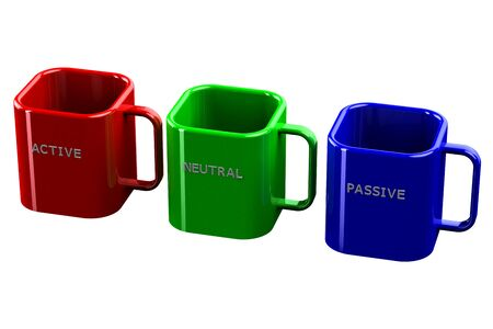 passive: Colored Cups with words active, neutral, passive, isolated on white background. 3D render.
