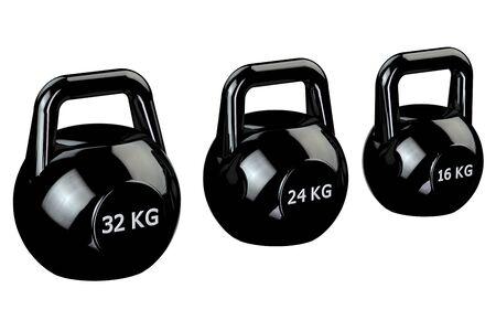 32: Black kettlebells with sign 32 kg, 24 kg, 16 kg, isolated on white background. 3D render.