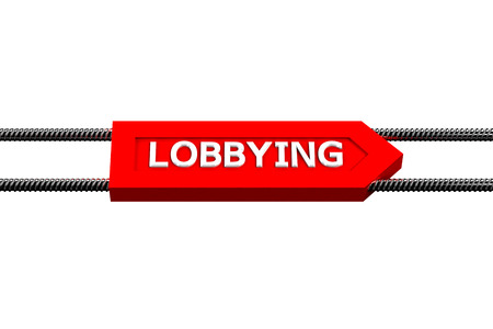 exemptions: Word lobbying the arrow, isolated on white background. 3D render.