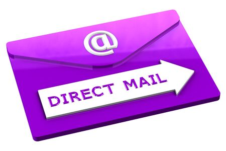 direct mail: Purple envelope with words direct mail, isolated on white background. 3D render.