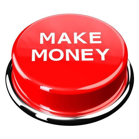 moneymaker: Finance concept: Make money words on button isolated on white background. 3D render.