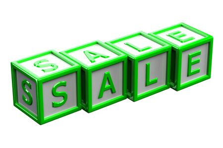 creating wealth: Blocks with word sale, isolated on white background. 3D render.