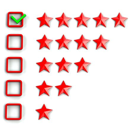 critique: Rating stars checkbox, isolated on white background.  3D render.