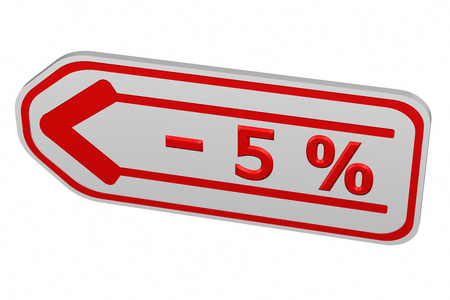 5: Discount - 5 % arrow, isolated on white background. 3D render. Stock Photo
