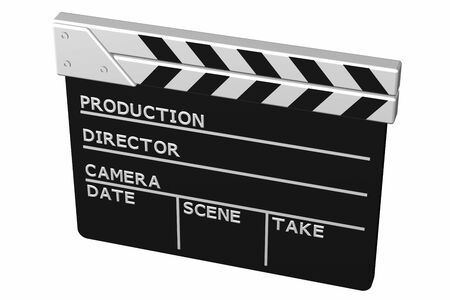 screenplay: Clapperboard, isolated on white background. 3D render. Stock Photo
