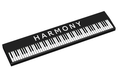 black piano: Black piano with word harmony, isolated on white background.  3D render.
