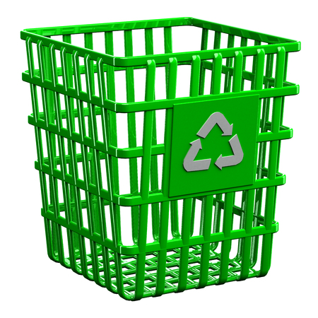 wastepaper basket: Recycling basket isolated on white background. 3D render.