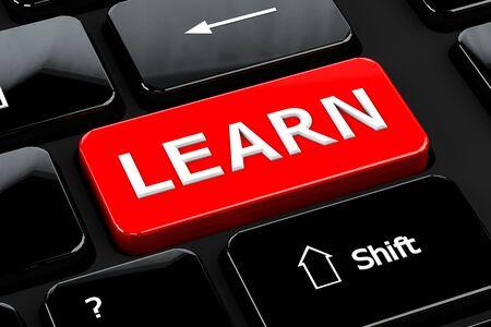 teclado de computadora: Concepto de la educaci�n: Aprende palabras en el fondo del teclado del ordenador. 3D render.