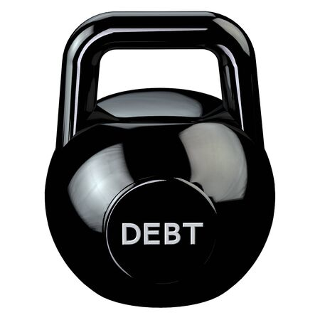 economic depression: Finance concept: Black kettlebell with word debt, isolated on white background. 3D render.
