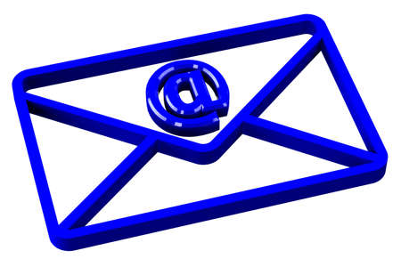 direct sale: Blue envelope with sign e-mail, isolated on white background. 3D render. Stock Photo