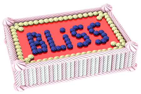 bliss: Colorful cream cake with the inscription bliss, isolated on white background.  3D render.