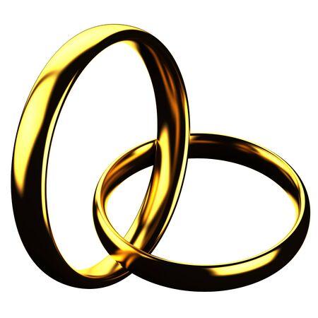 anillo de boda: Concepto de las finanzas: anillos de oro aislados sobre fondo blanco. render 3D.
