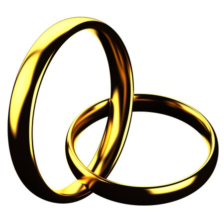 vows: Finance concept: gold rings isolated on white background. 3D render.