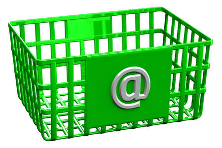 direct sale: Green shopping basket with sign @, isolated on white background. 3D render.