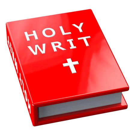 writ: Red book with words Holy Writ,  isolated on white background.  3D render.