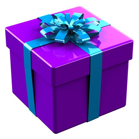 tied: Purple gift box tied blue with a bow isolated on white background.  3D render. Stock Photo