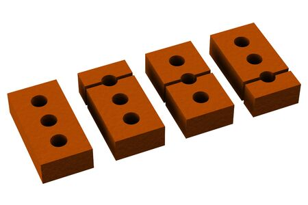 segmentaci�n: Segmentation bricks isolated on white background.  3D render.