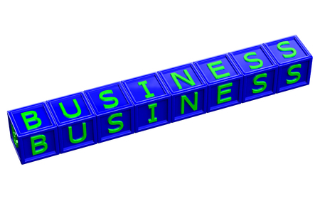 blue 3d blocks: Word business written green letter on blue blocks, isolated on white background. 3D render. Stock Photo