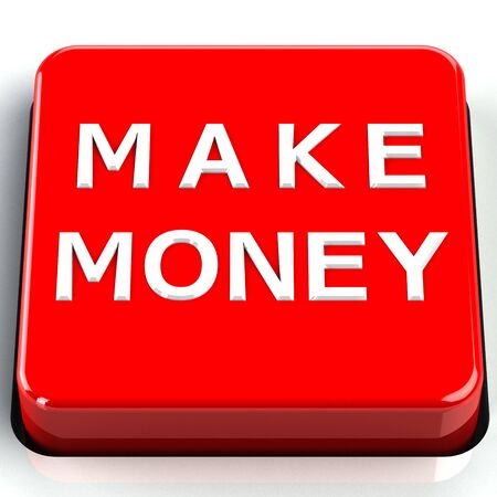 moneymaker: Finance concept: Make money words on button isolated on white background. 3D render.