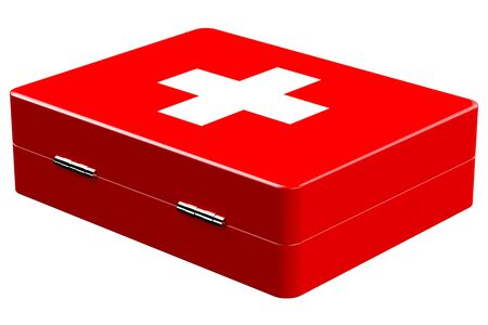 rendered: Red medicine chest isolated on white background.  3D render.