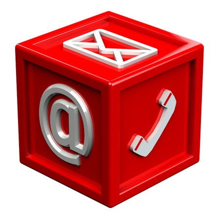 contact us: Block with signs: envelope, phone, e-mail, isolated on white background. 3D render.