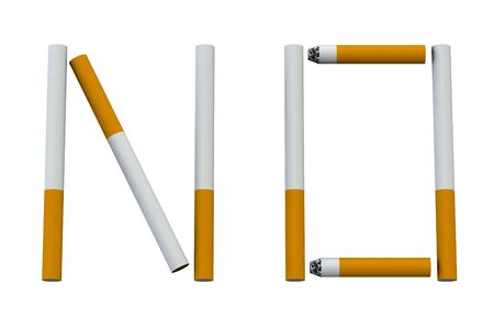 tobacco product: No smoking sign isolated on white background.  3D render.
