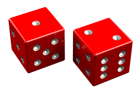 deuce: Pair of dice - Ace Deuce, isolated on white background. 3D render. Stock Photo