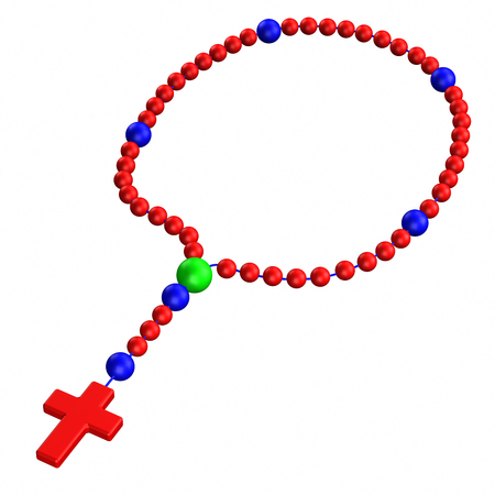 pilgrimage: Rosary, isolated on white background. 3D render.