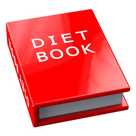 be ill: Red book with words diet book, isolated on white background.  3D render.
